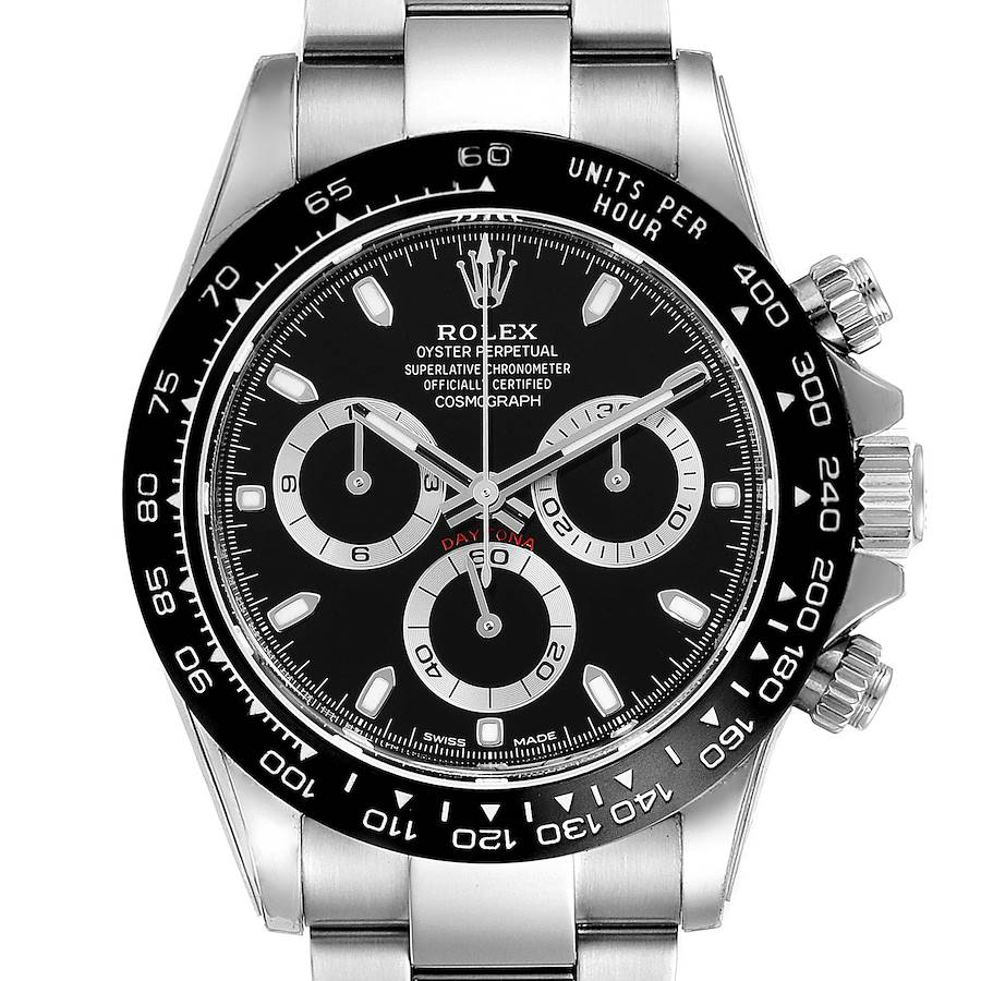 Rolex Cosmograph Daytona Ceramic Bezel Black Dial Mens Watch 116500 SwissWatchExpo