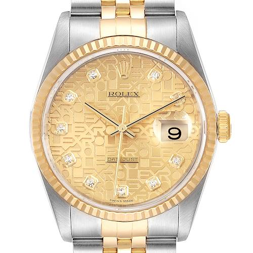 Photo of Rolex Datejust Steel 18K Yellow Gold Diamond Dial Mens Watch 16233 Box Papers