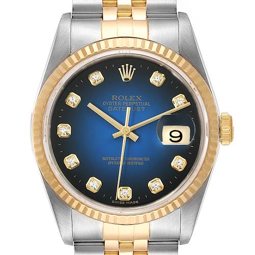 Photo of Rolex Datejust Steel Yellow Gold Diamond Vignette Dial Mens Watch 16233 Box Papers
