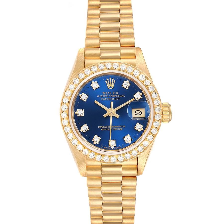 Rolex President Datejust Yellow Gold Diamond Bezel Ladies Watch 69178 SwissWatchExpo