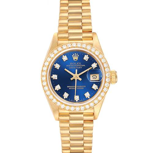 Photo of Rolex President Datejust Yellow Gold Diamond Bezel Ladies Watch 69178