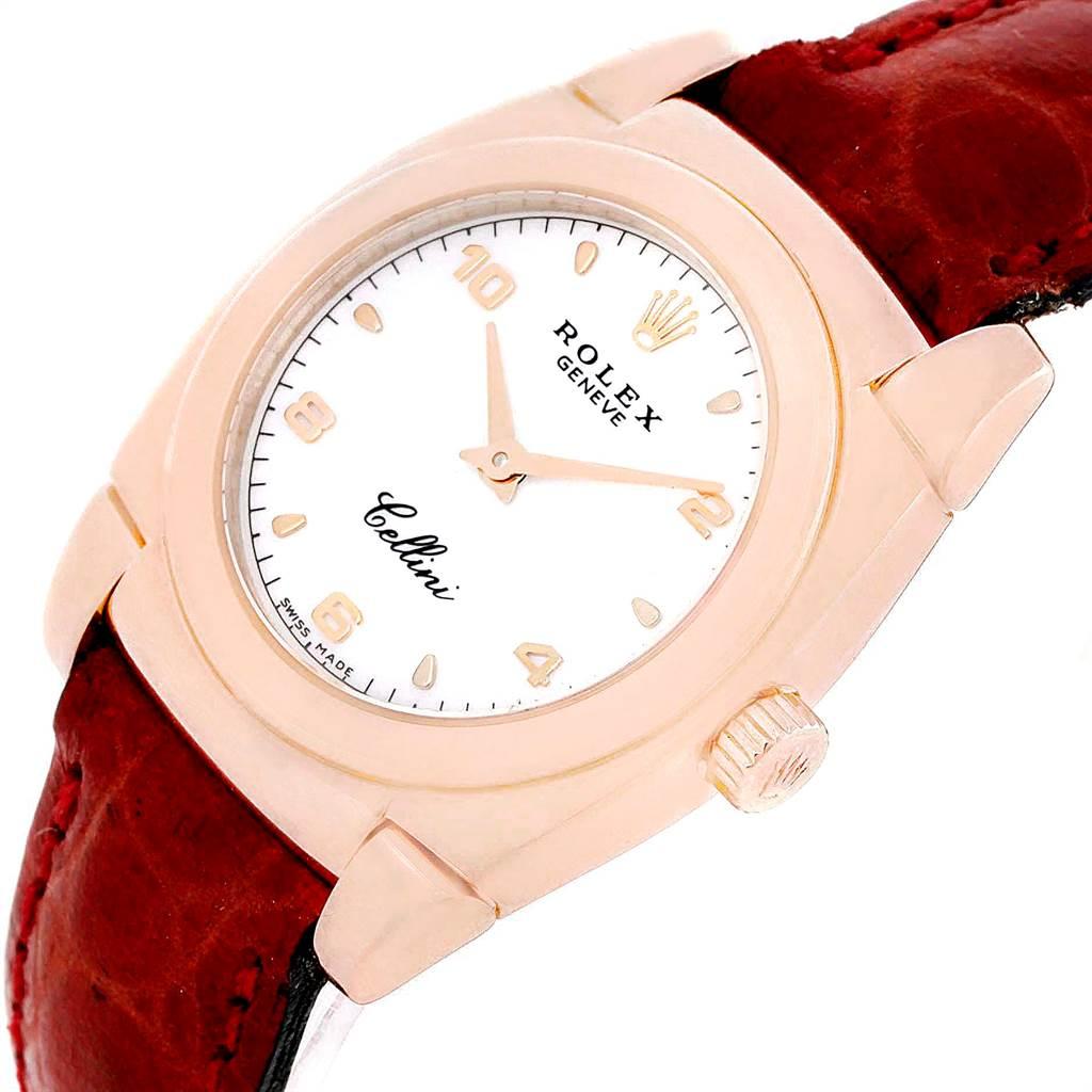 Rolex Cellini Cestello Ladies Rose Gold White Dial Red Strap Watch 5310 SwissWatchExpo