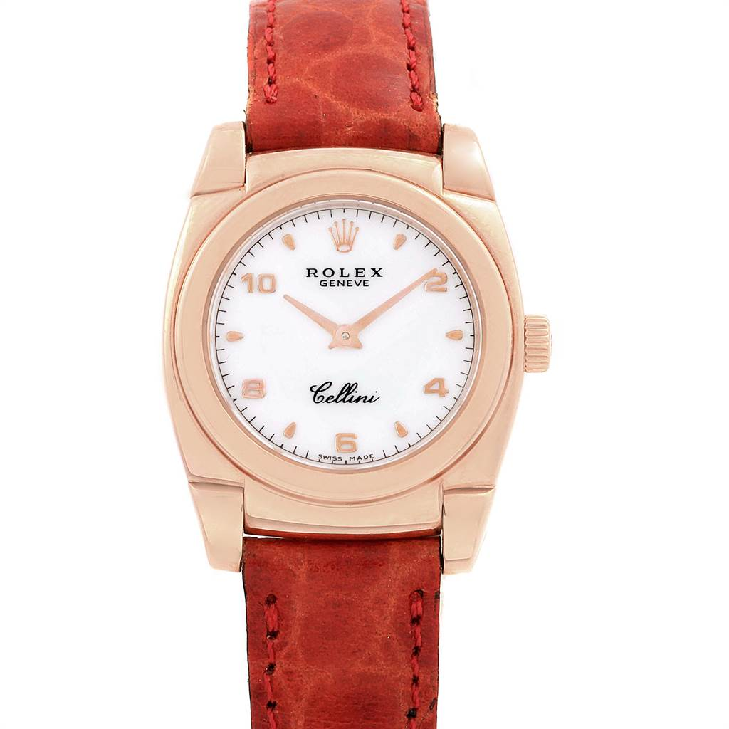 10040A Rolex Cellini Cestello Ladies Rose Gold White Dial Red Strap Watch 5310 SwissWatchExpo