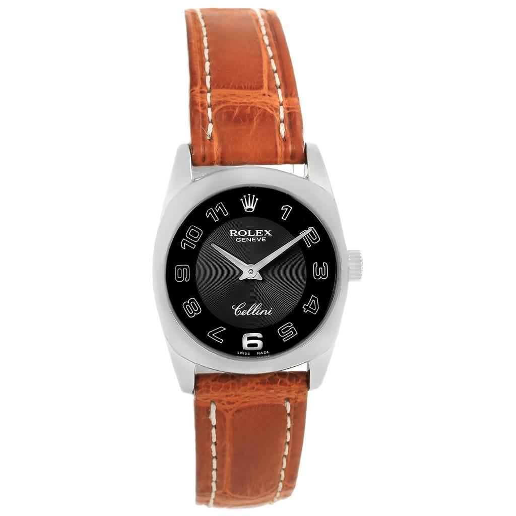 Rolex Cellini Danaos Ladies 18K White Gold Black Dial Watch 6229 SwissWatchExpo
