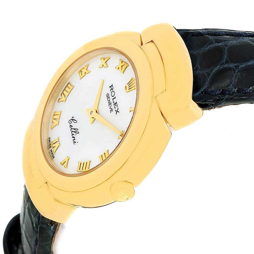 14202 Rolex Cellini 18K Yellow Gold White Dial Blue Strap Ladies Watch 6621 SwissWatchExpo