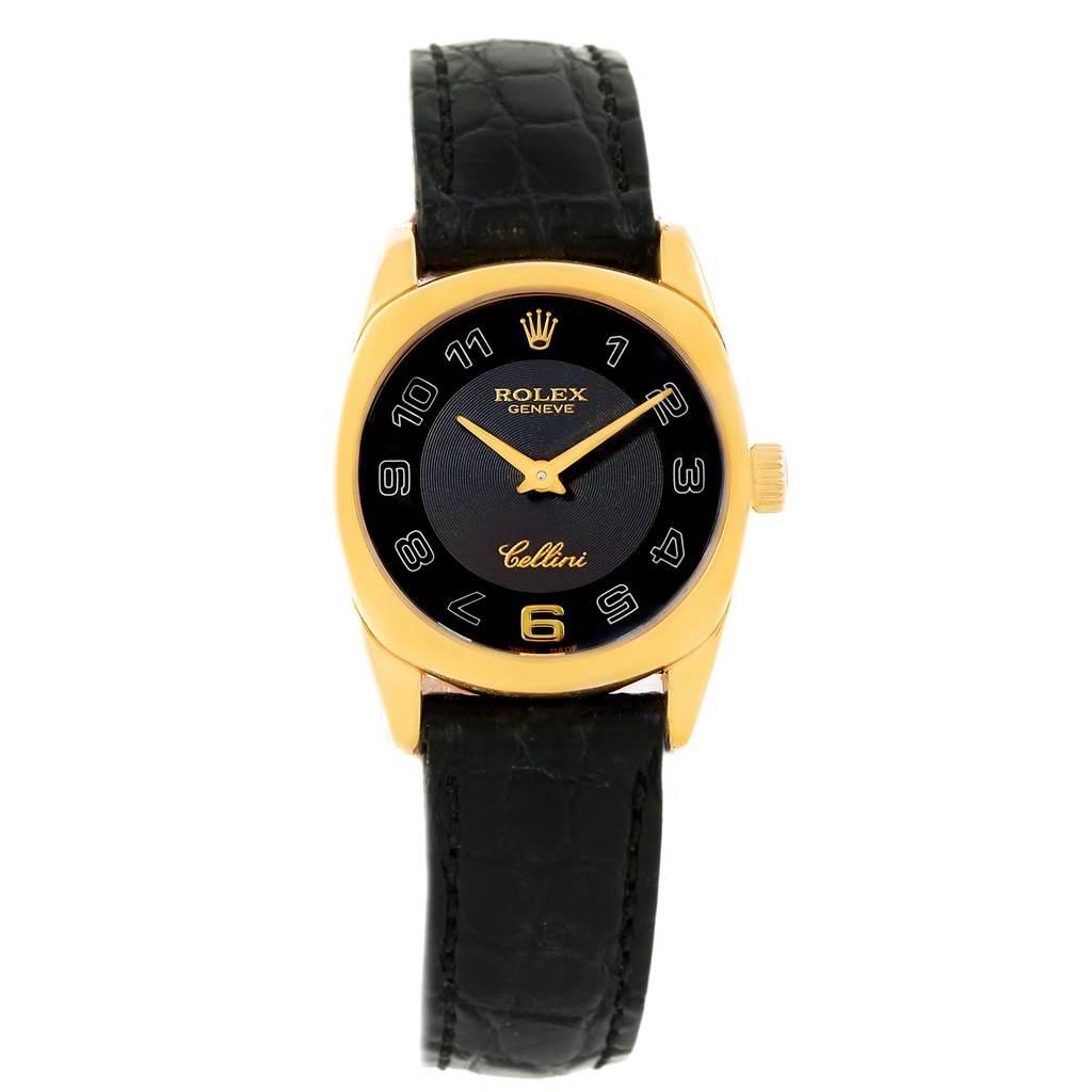 14078 Rolex Cellini Danaos 18K Yellow Gold Black Strap Ladies Watch 6229 SwissWatchExpo