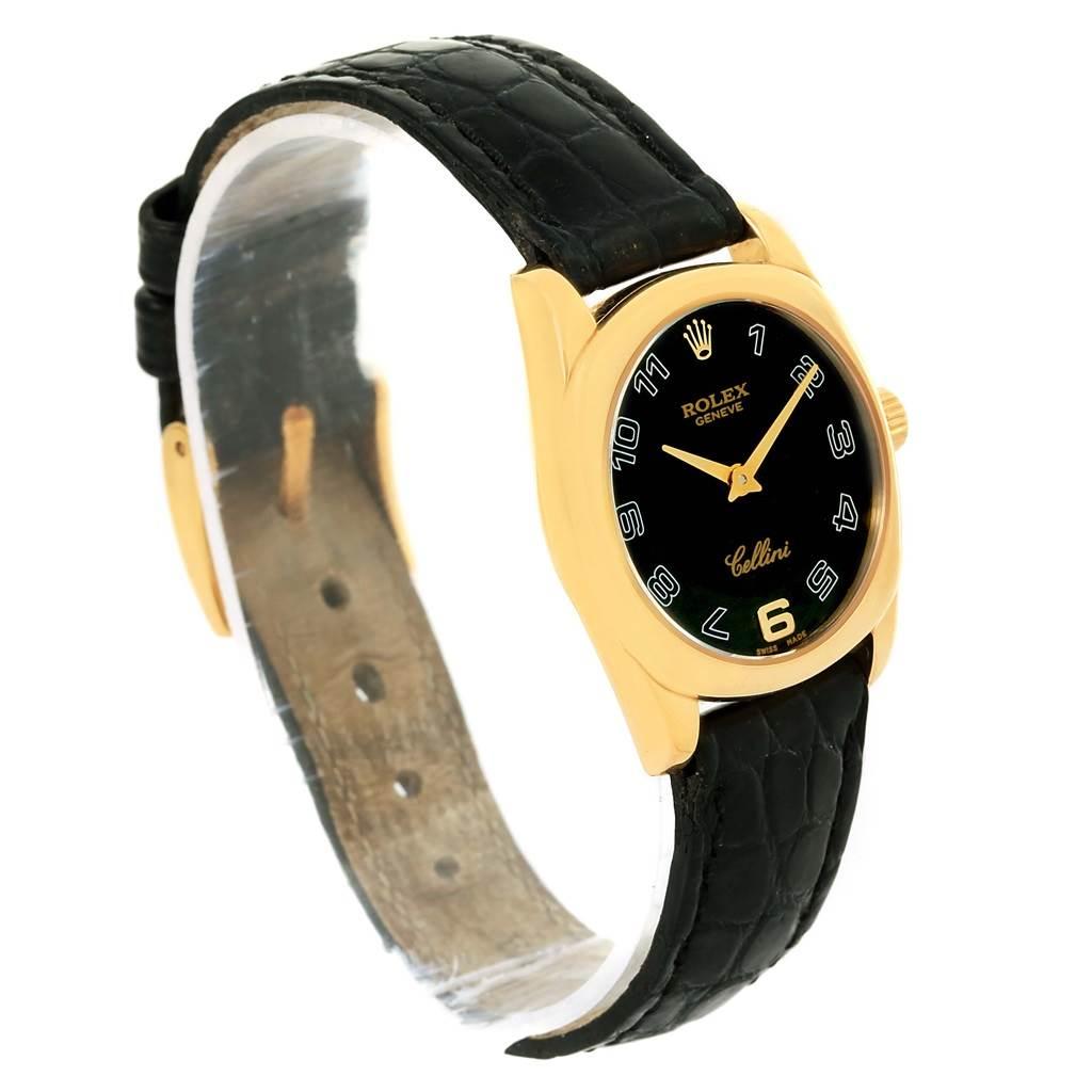 Rolex Cellini Danaos 18K Yellow Gold Black Strap Ladies Watch 6229 SwissWatchExpo