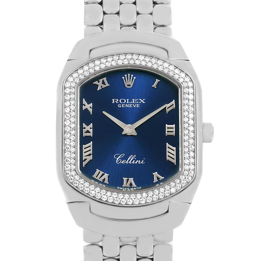 14357P Rolex Cellini Cellissima White Gold Diamond Ladies Watch 6691 Box Papers SwissWatchExpo