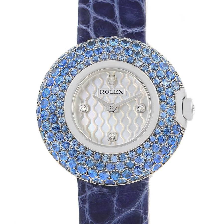 Rolex Cellini Orchid White Gold Sapphire Diamond Ladies Watch 6201 SwissWatchExpo