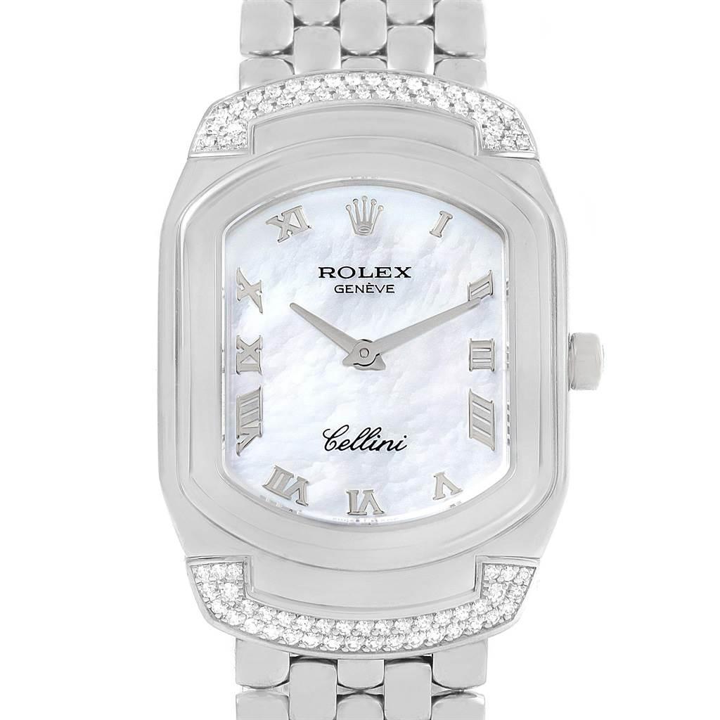 14715 Rolex Cellini Cellissima 18K White Gold MOP Diamond Ladies Watch 6692 SwissWatchExpo