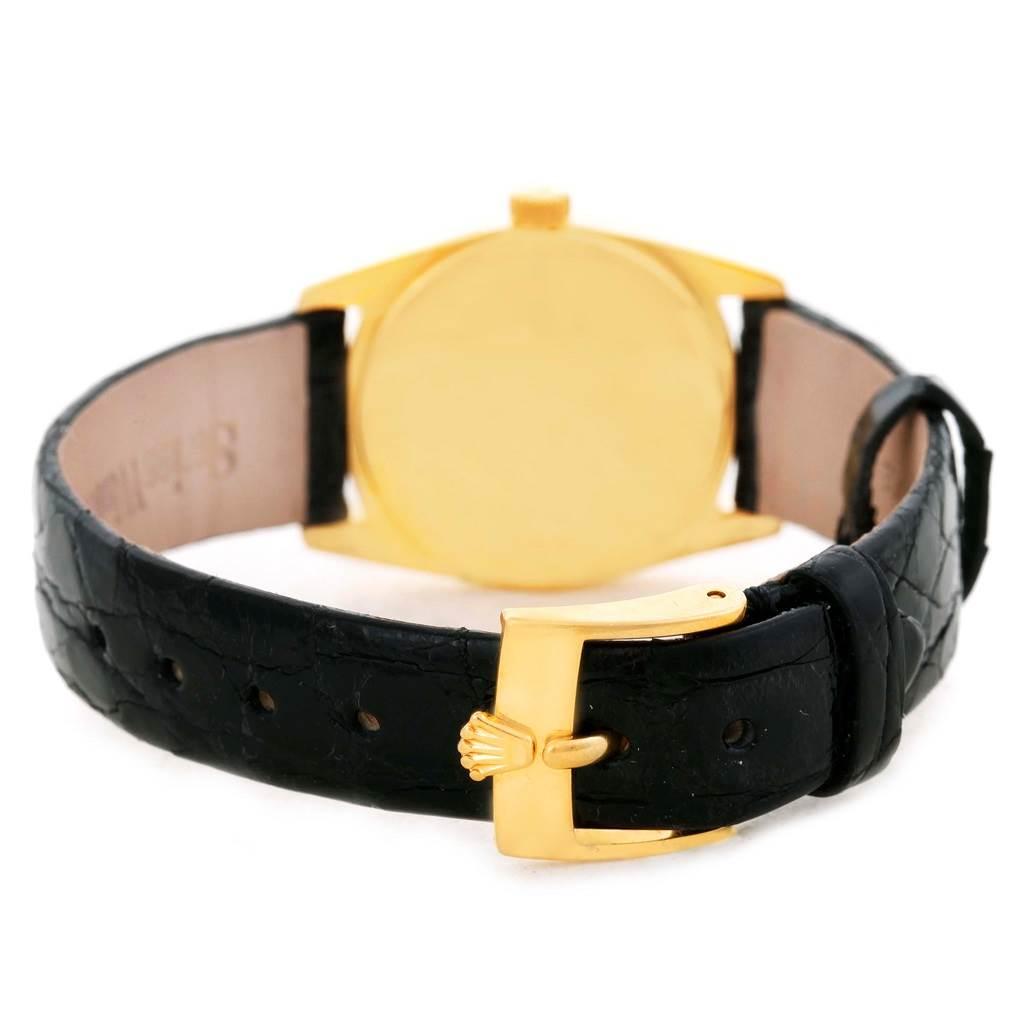 Rolex Cellini Danaos Ladies 18K Yellow Gold Black Dial Watch 6229 SwissWatchExpo