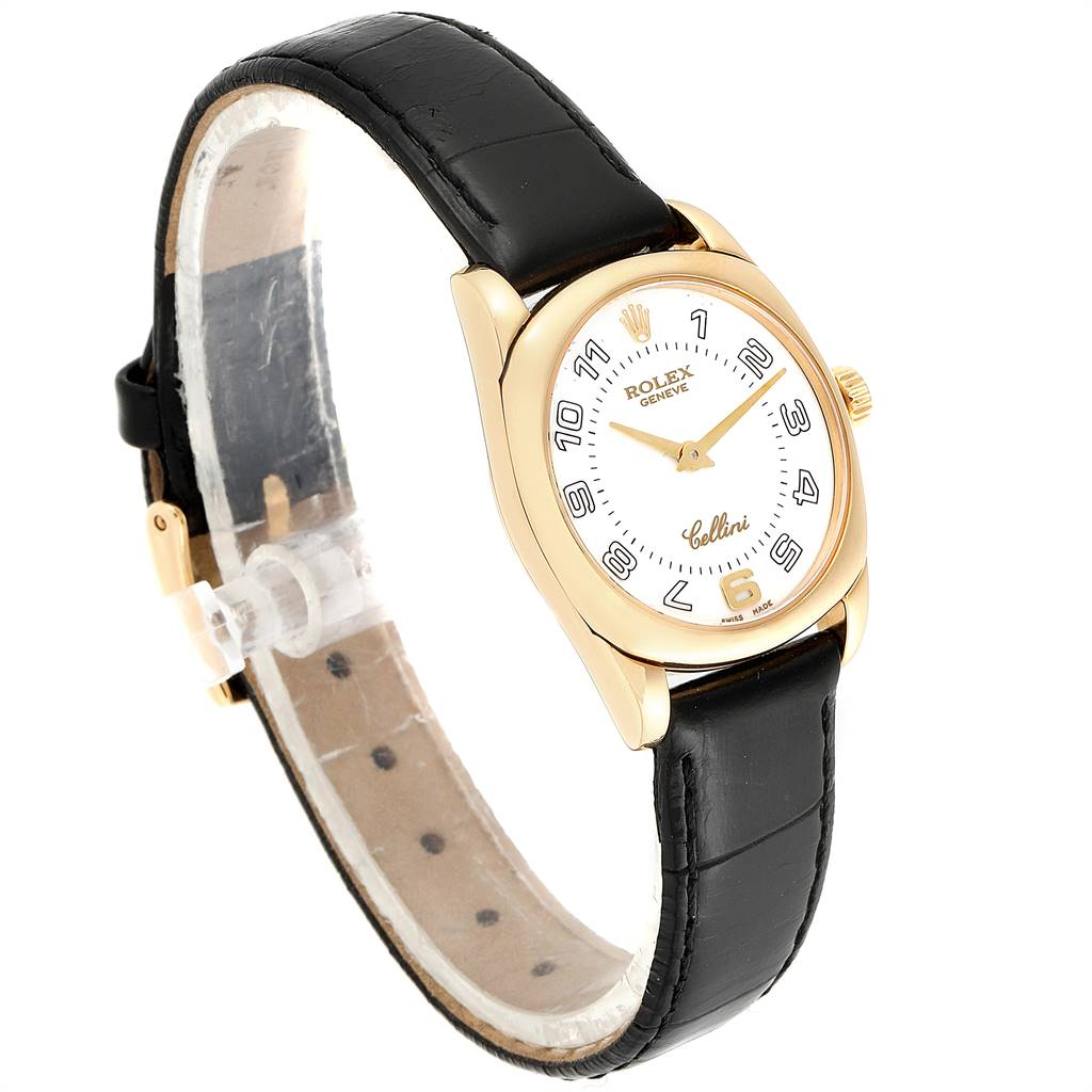 Rolex Cellini Danaos Yellow Gold White Dial Ladies Watch 6229 SwissWatchExpo