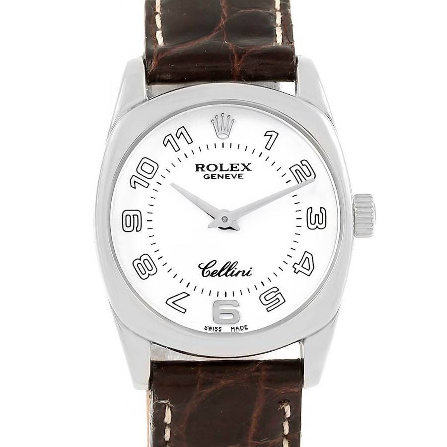 Rolex Cellini Danaos White Gold Brown Strap Ladies Watch 6229 SwissWatchExpo