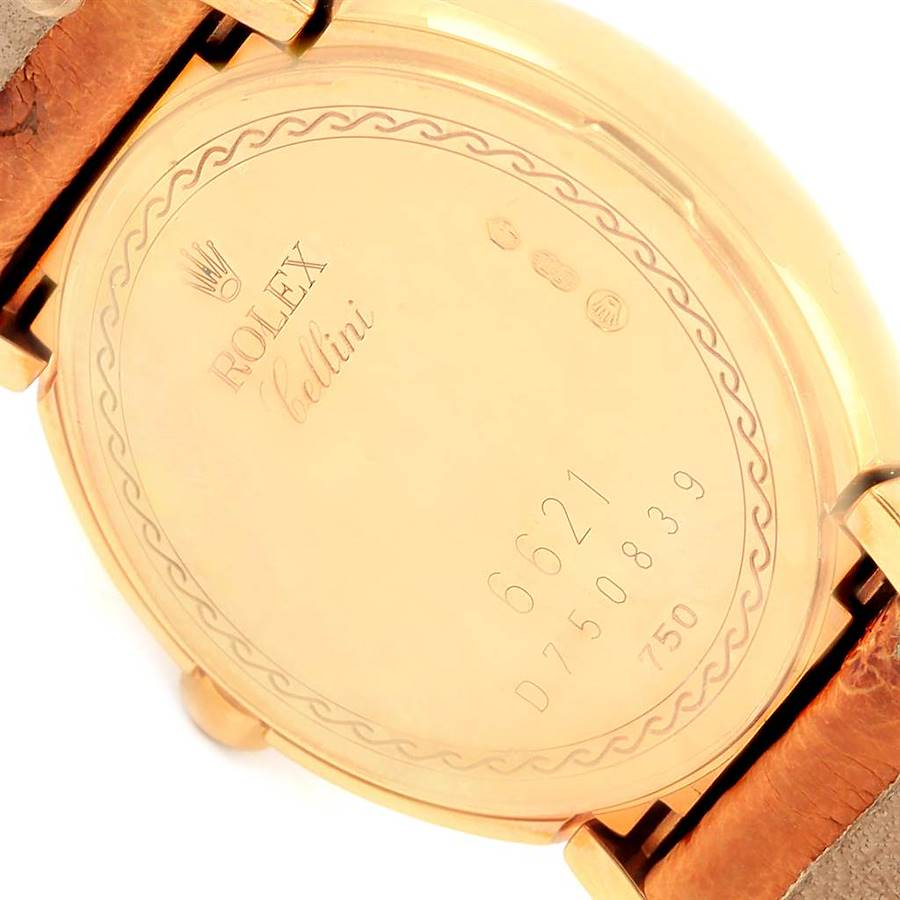 Rolex Cellini Yellow Gold Brown Strap Ladies Watch 6621 Box Papers SwissWatchExpo