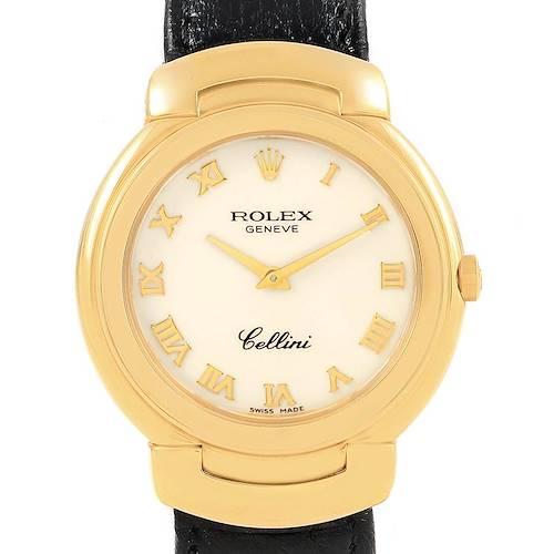 Photo of Rolex Cellini 18k Yellow Gold White Dial Black Strap Ladies Watch 6622