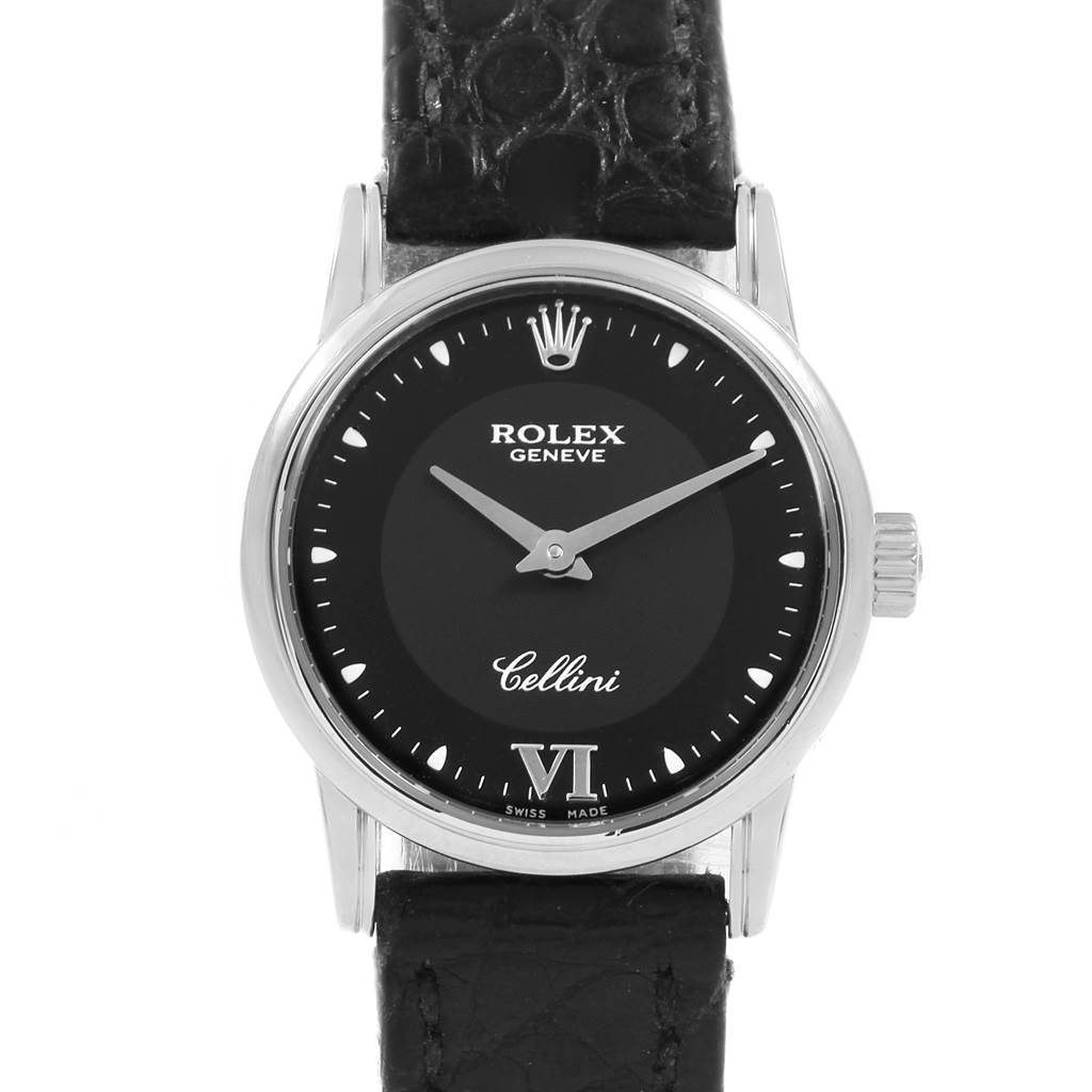 20443 Rolex Cellini Classic 18k White Gold Black Dial Ladies Watch 6111 SwissWatchExpo