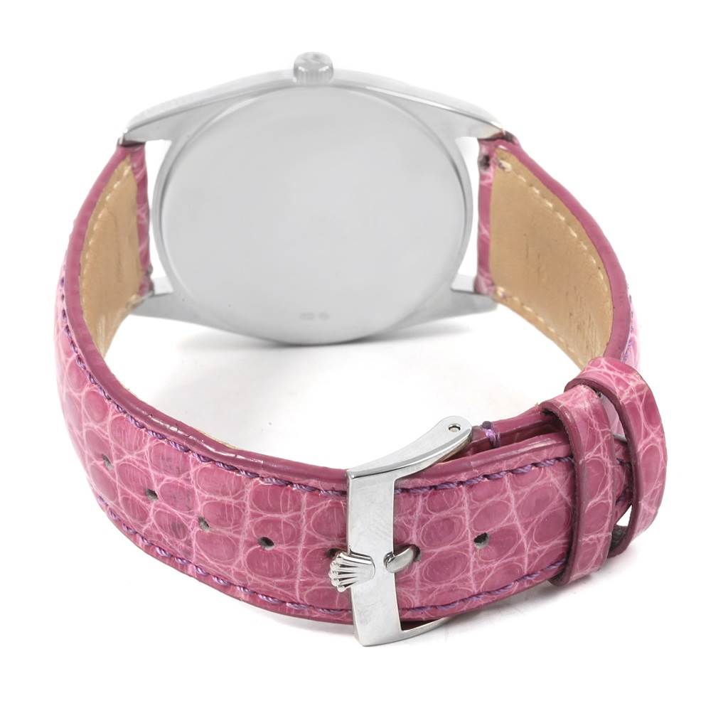 20983 Rolex Cellini Danaos White Rose Gold Pink Strap Watch 4233 Box Papers SwissWatchExpo