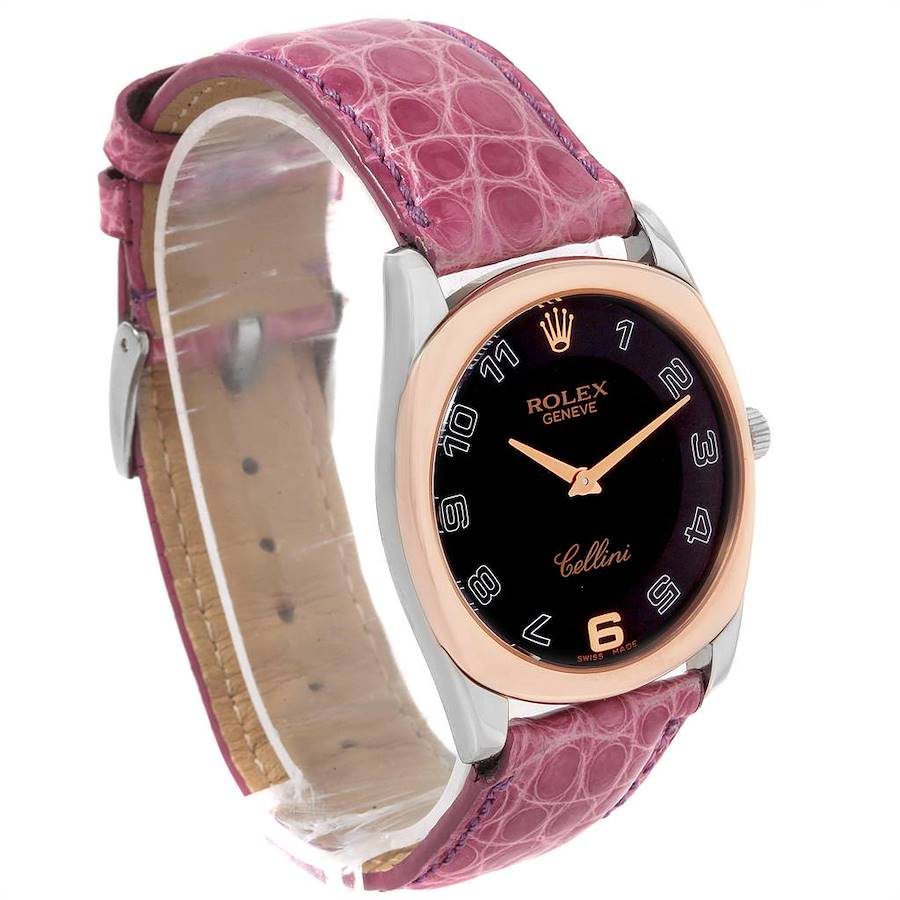 Rolex Cellini Danaos White Rose Gold Pink Strap Watch 4233 Box Papers SwissWatchExpo