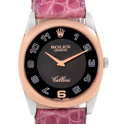 Photo of Rolex Cellini Danaos White Rose Gold Pink Strap Watch 4233 Box Papers