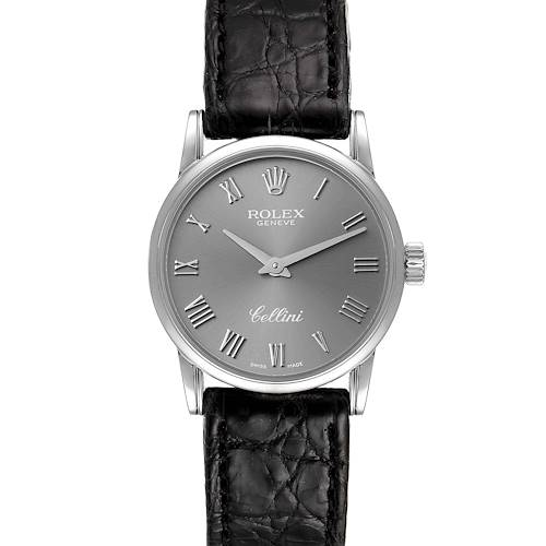 Photo of Rolex Cellini Classic 18k White Gold Slate Dial Ladies Watch 6111