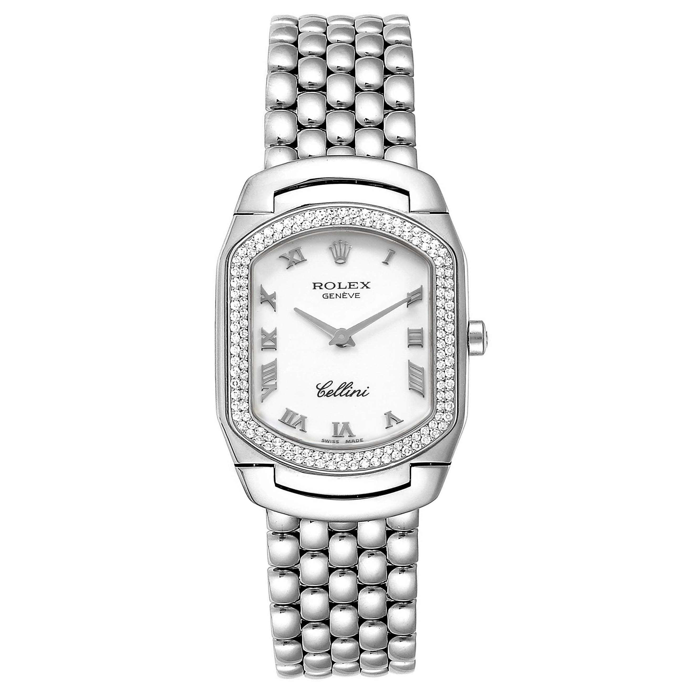 Rolex Cellini Cellissima White Gold Diamond Ladies Watch 6691 SwissWatchExpo
