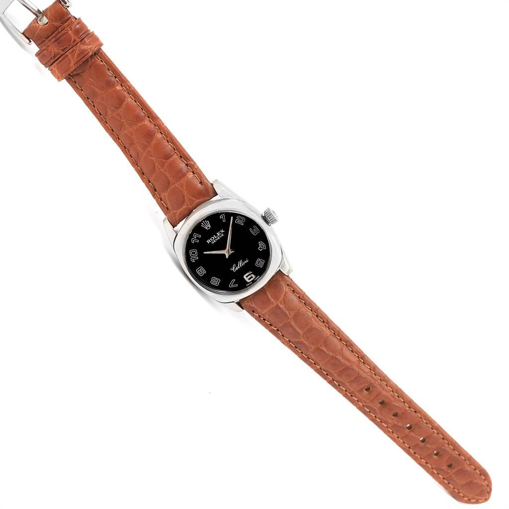Rolex Cellini Danaos White Gold Black Dial Ladies Watch 6229 Box Papers SwissWatchExpo