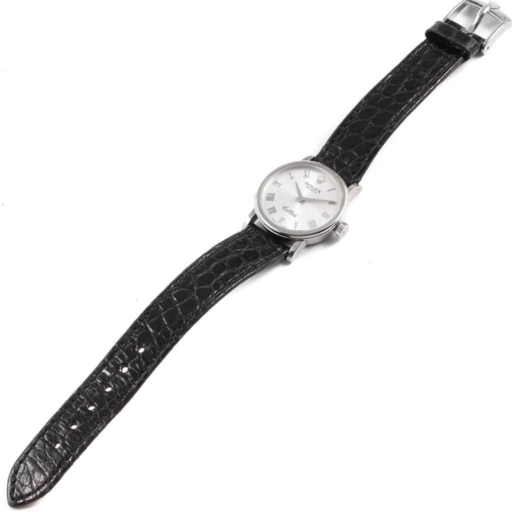22463 Rolex Cellini Classic 18k White Gold Ladies Watch 6110 Box Card SwissWatchExpo