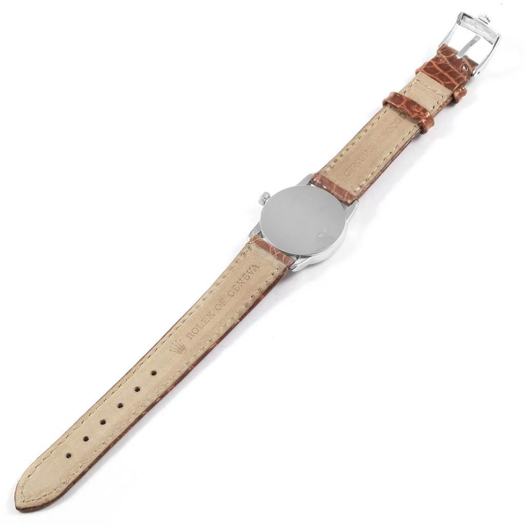 13879X Rolex Cellini Classic 18k White Gold Black Dial Ladies Watch 6111 SwissWatchExpo