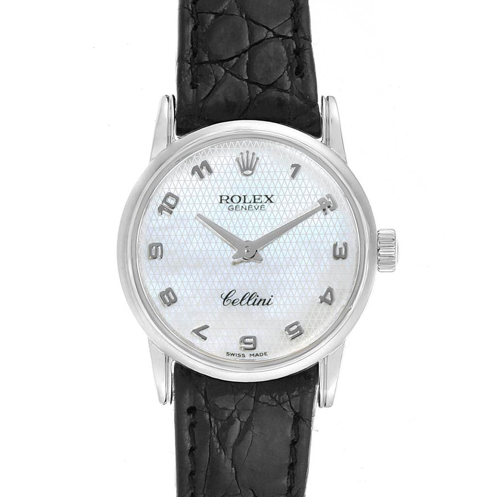 Rolex Cellini Classic White Gold MOP Dial Ladies Watch 6111 Box Card