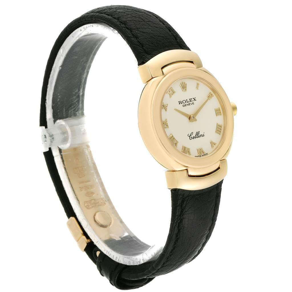 Rolex Cellini 18k Yellow Gold Black Strap Ladies Watch 6622 SwissWatchExpo