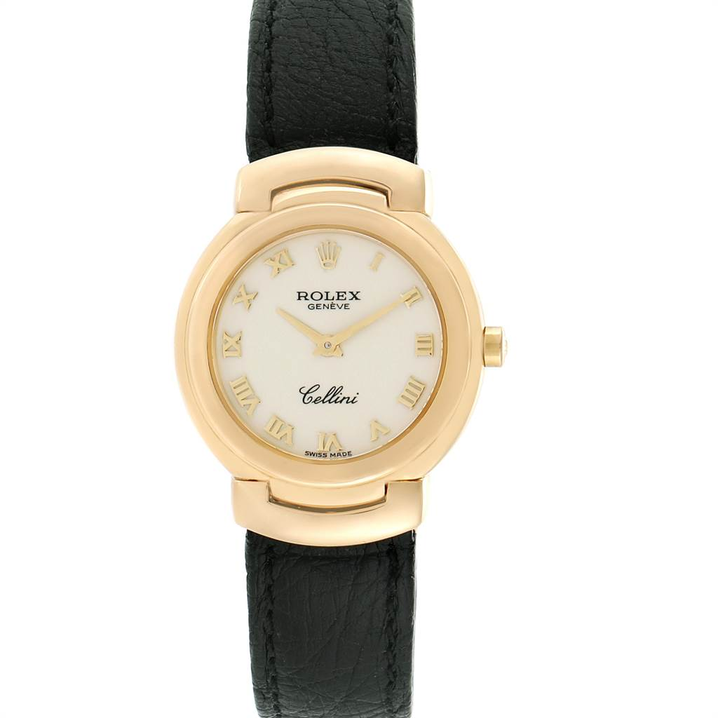 8699X Rolex Cellini 18k Yellow Gold Black Strap Ladies Watch 6622 SwissWatchExpo