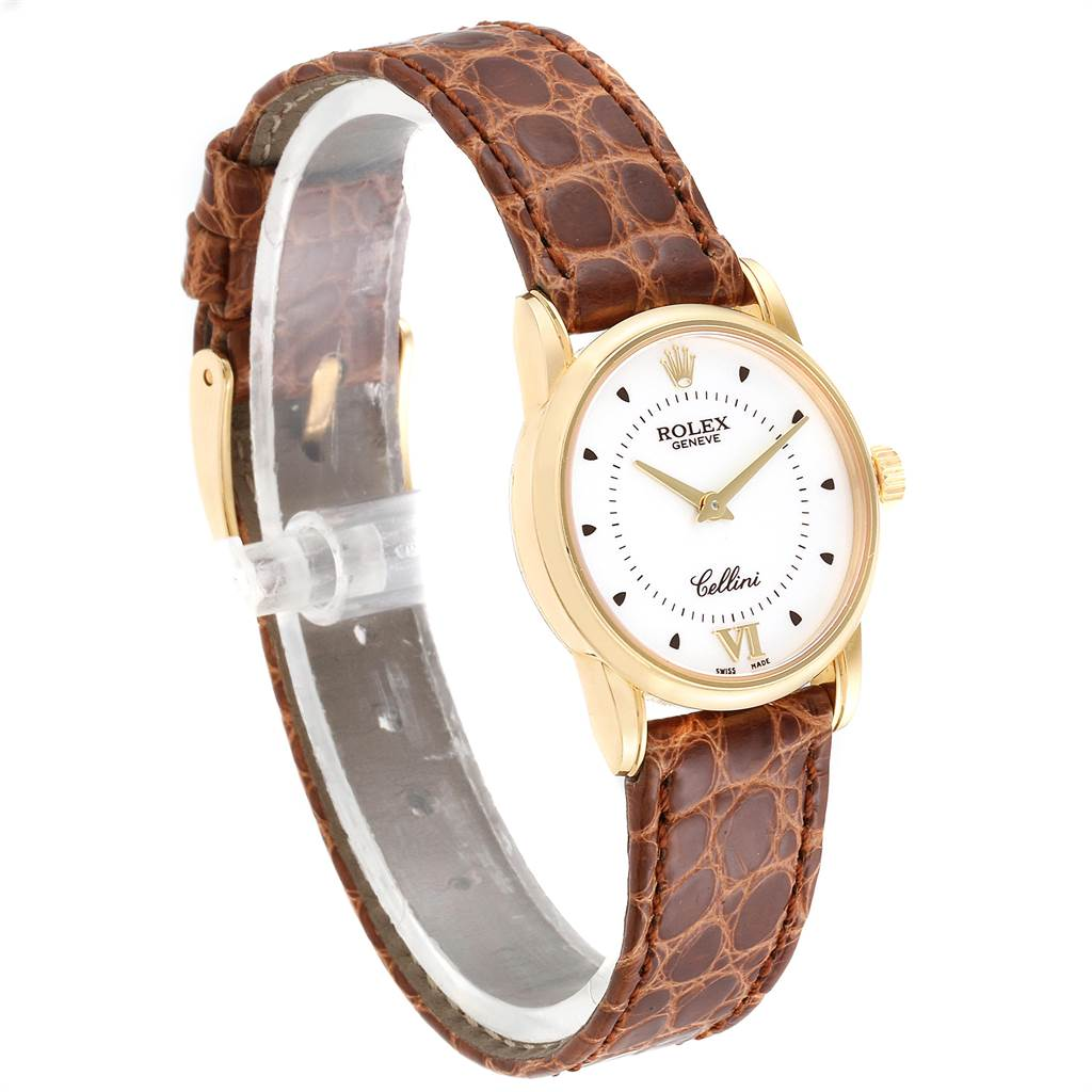 24055 Rolex Cellini Classic Yellow Gold Silver Dial Ladies Watch 6111 SwissWatchExpo