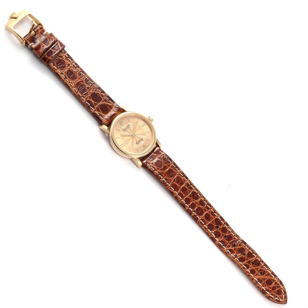 24146 Rolex Cellini Classic 18k Yellow Gold Brown Starp Ladies Watch 6110 SwissWatchExpo