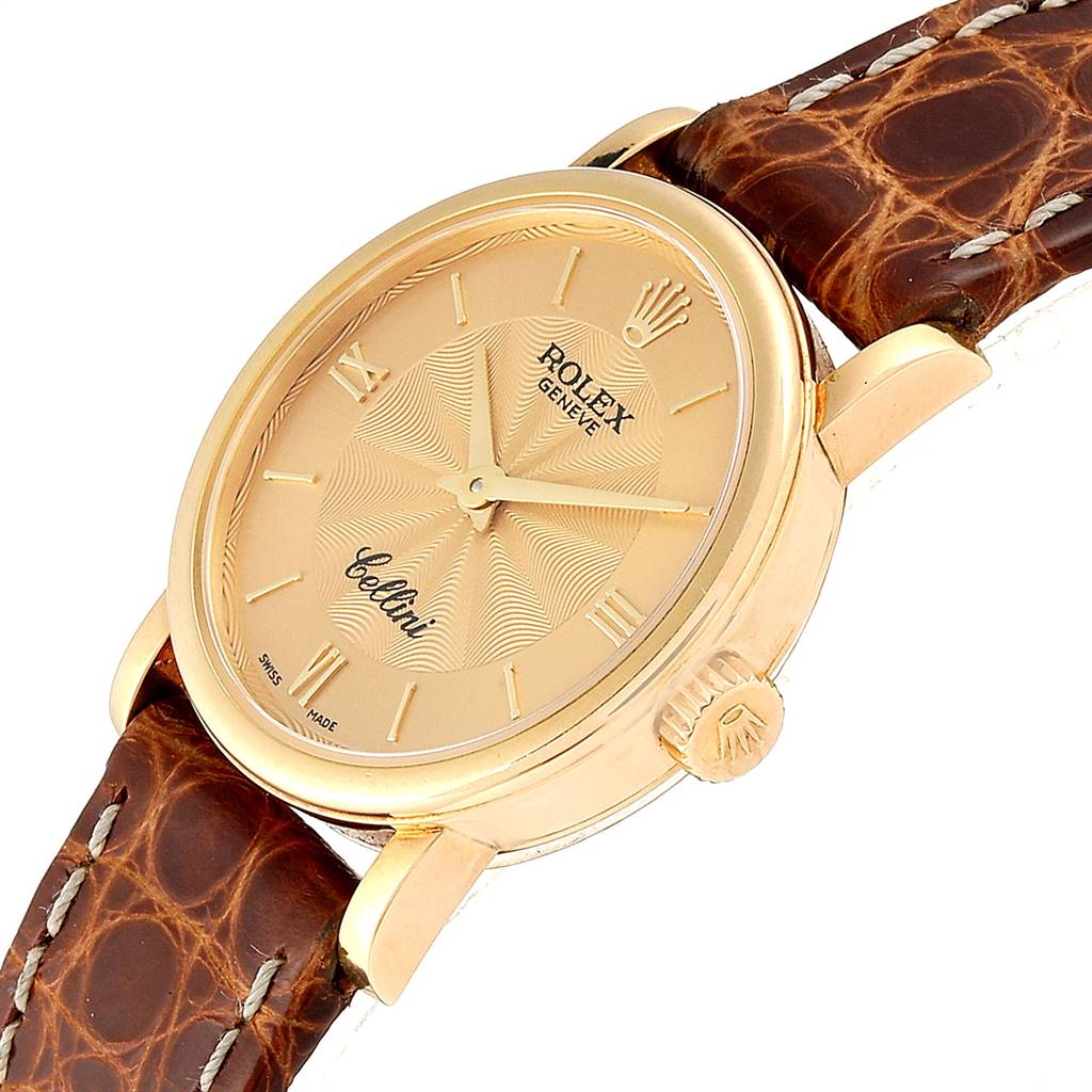 Rolex Cellini Classic 18k Yellow Gold Brown Starp Ladies Watch 6110 SwissWatchExpo