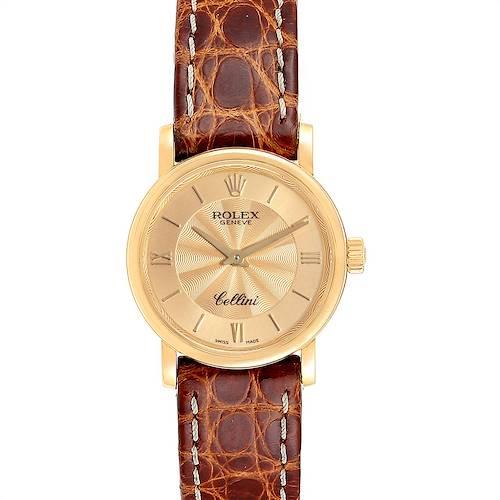 Photo of Rolex Cellini Classic 18k Yellow Gold Brown Starp Ladies Watch 6110