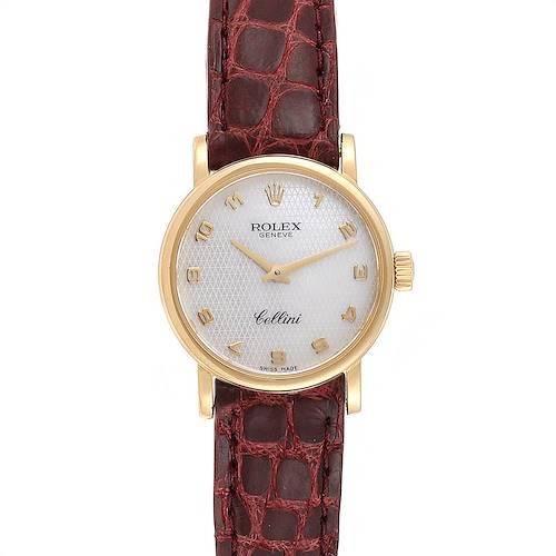 Photo of Rolex Cellini Classic 18k Yellow Gold Brown Strap Ladies Watch 6110 Box Papers