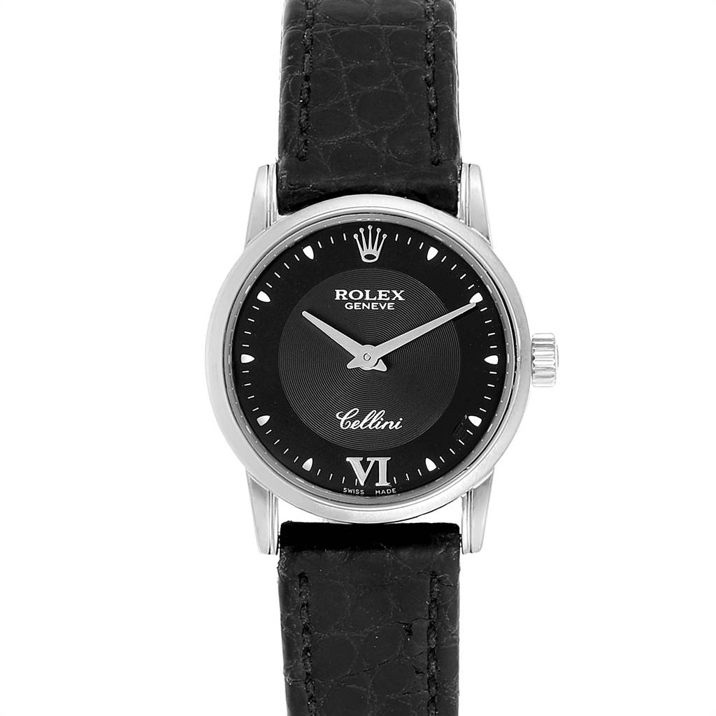 25041 Rolex Cellini Classic 18k White Gold Black Dial Ladies Watch 6111 SwissWatchExpo