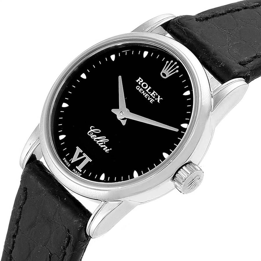 Rolex Cellini Classic 18k White Gold Black Dial Ladies Watch 6111 SwissWatchExpo