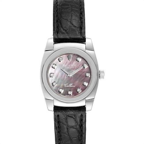 Photo of Rolex Cellini Cestello White Gold MOP Diamond Dial Ladies Watch 5310