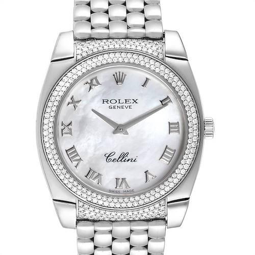 Photo of Rolex Cellini Cestello 18K White Gold MOP Diamond Ladies Watch 6321