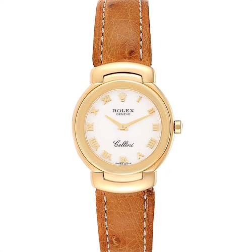 Photo of Rolex Cellini Yellow Gold Brown Strap Ladies Watch 6621 Box Papers