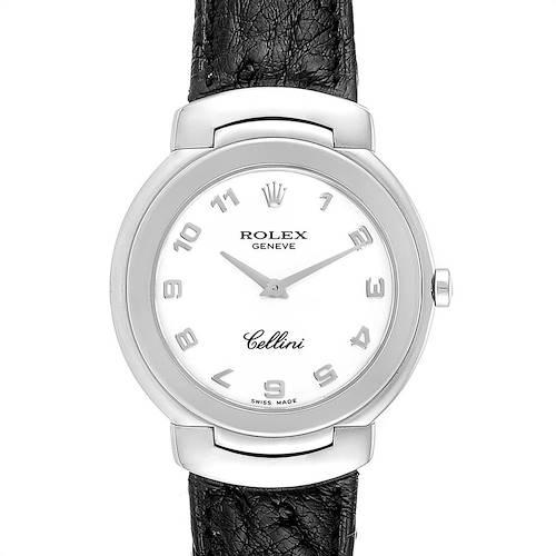 Photo of Rolex Cellini 18k White Gold Black Strap Ladies Watch 6622