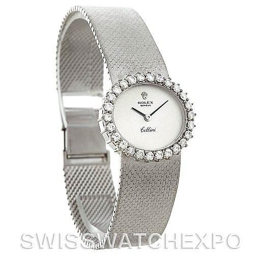 Rolex Cellini Vintage Ladies 18k White Gold Diamond Watch SwissWatchExpo