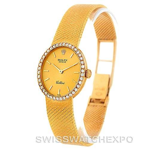 Rolex Cellini Vintage Ladies 18k Yellow Gold Diamond Watch 4625