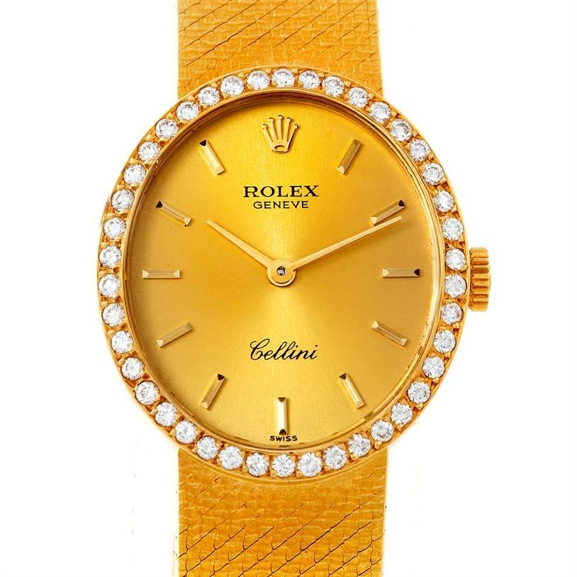 Cellini Diamond: Rolex Cellini Vintage Ladies 18k Yellow Gold Diamond Watch