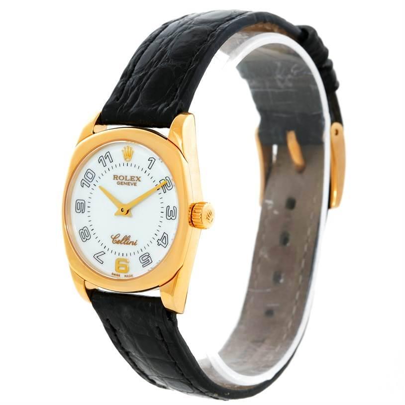 Rolex Cellini Danaos Ladies 18K Yellow Gold White Dial Watch 6229 SwissWatchExpo