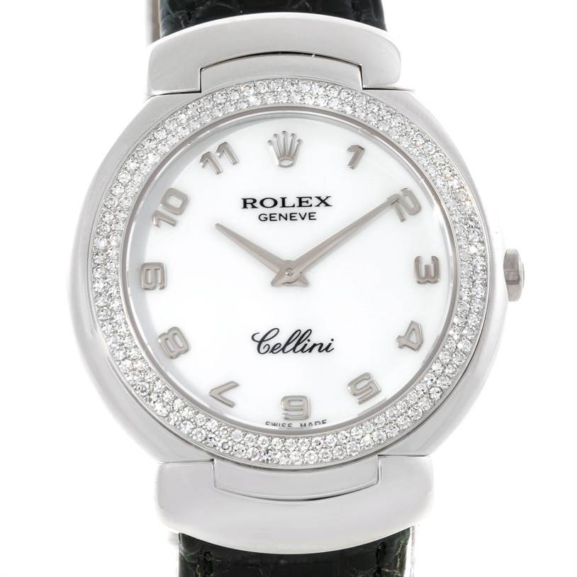 Cellini Diamond: Rolex Cellini 18K White Gold Diamond Ladies Watch 6681 Unworn