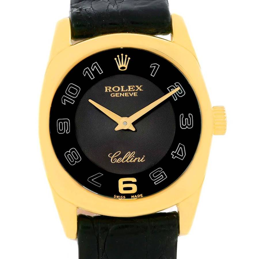 Rolex Cellini Danaos Ladies 18K Yellow Gold Black Dial Watch 6229 SwissWatchExpo