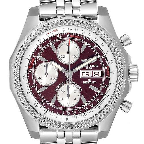 Photo of Breitling Bentley Motors GT Burgundy Dial Mens Watch A13362 Box Papers