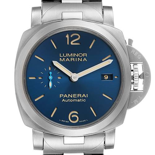 Photo of Panerai Luminor Marina 1950 Blue Dial Steel Watch PAM01028 Box Papers
